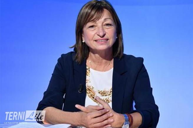 La candidata per il centrodestra alla presidenza della Regione Umbria, Donatella Tesei, durante un forum all'ANSA, Roma, 8 ottobre 2019.  ANSA / ETTORE FERRARI